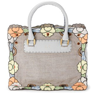 Skin bag with linen embroidered dress detail.