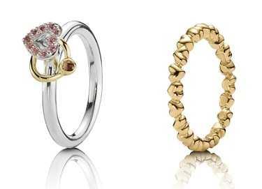 pandora anillo corazones oro