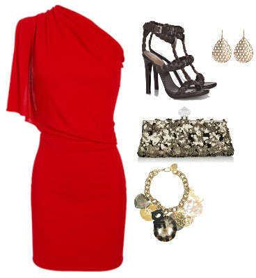 Accesorios para vestido de fiesta color rojo