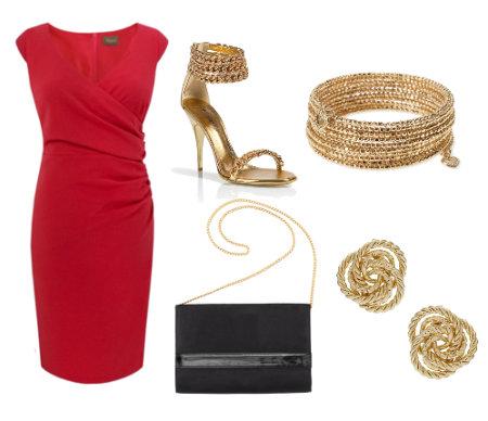 Accesorios para un vestido rojo de coctel